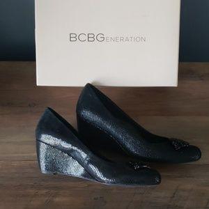 BCBG Black Wedges